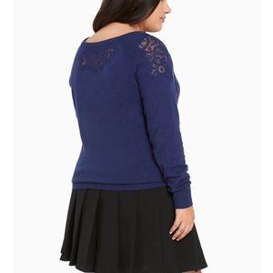 Torrid Blue Lace Shoulder Sweater Size 2 (2X)